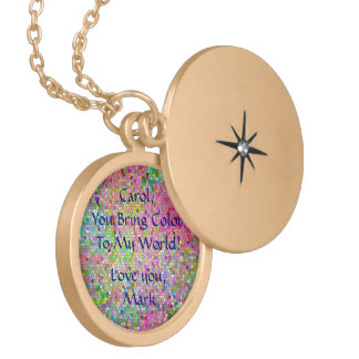 "PERSONALIZED/""YOU BRING COLOR TO MY WORLD"" NECKLAC LOCKET NECKLACE"