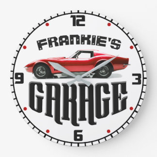 Personalized YOUR NAME Chevy Corvette Car Garage Large Clock