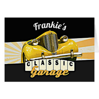 Personalized   Your Name   Classic Car Garage Card