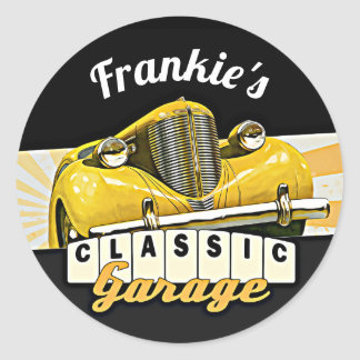 Personalized | Your Name | Classic Car Garage Classic Round Sticker