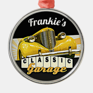 Personalized | Your Name | Classic Car Garage Metal Ornament