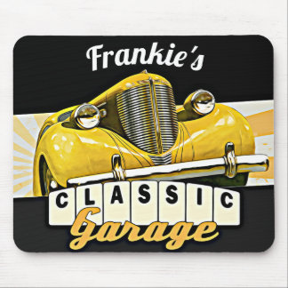 Personalized   Your Name   Classic Car Garage Mouse Pad