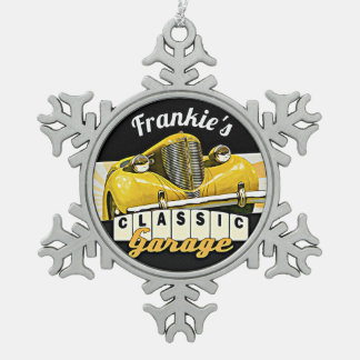 Personalized | Your Name | Classic Car Garage Snowflake Pewter Christmas Ornament