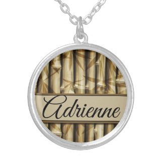 Personalized | Your Name | Elegant Bamboo Wood Silver Plated Necklace