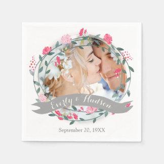 Personalized Your Photo Quartz Pink Forest Wedding Disposable Serviette
