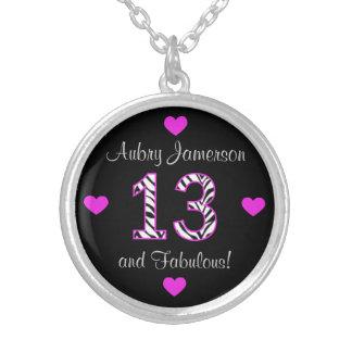 Personalized Zebra 13th Birthday Necklace
