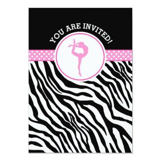 Personalized Zebra Print Gymnastics in Pink Card