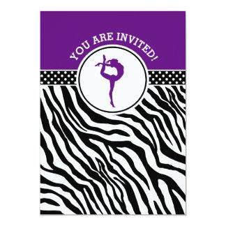 Personalized Zebra Print Gymnastics in Purple Card