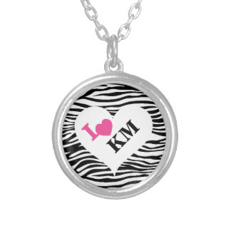 Personalized Zebra Print Heart Initials Necklace