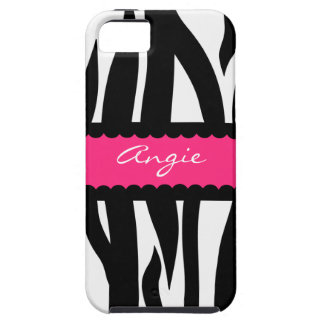 Personalized Zebra Striped Pattern - Pink Tough iPhone 5 Case