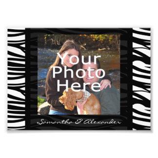 Personalized Zebra Stripes Black Photo Border