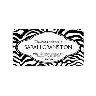 Personalized Zebra Stripes Pattern Bookplate Address Label