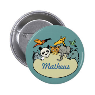 personalized zoo family animals 6 cm round badge