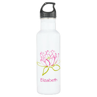 PersonalizedLotus Flower / Water Lily Illustration 710 Ml Water Bottle