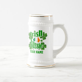Personlalized  Irish Australian St Patrick's day Beer Stein
