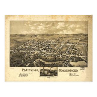 Perspective Map of Plainville Connecticut (1878) Postcard