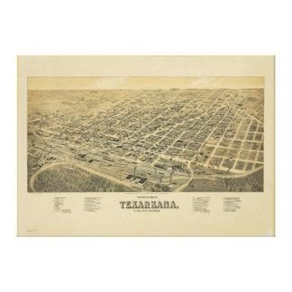 Perspective map of Texarkana Texas and Arkansas Canvas Print