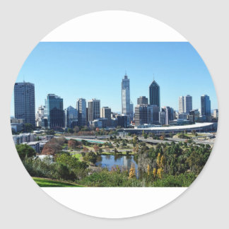 Perth Australia Skyline Classic Round Sticker