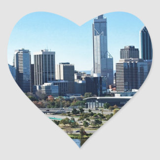 Perth Australia Skyline Heart Sticker