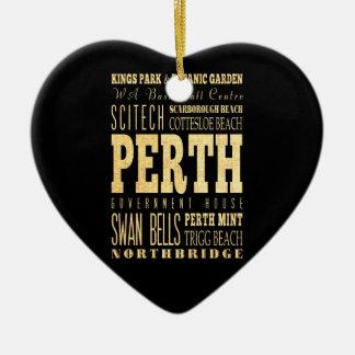 Perth City of Australia Typography Art Ceramic Ornament