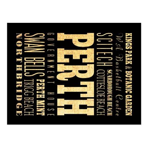 Perth City of Australia Typography Art Post Cards