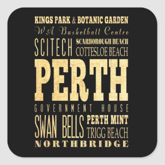 Perth City of Australia Typography Art Square Sticker