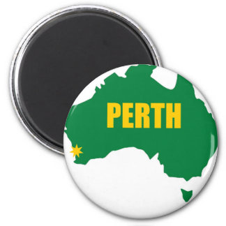 Perth Green and Gold Map 6 Cm Round Magnet