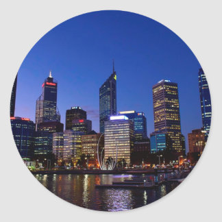 Perth Night Skyline Classic Round Sticker