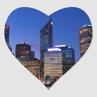 Perth Night Skyline Heart Sticker