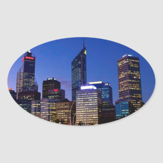 Perth Night Skyline Oval Sticker