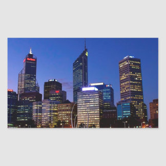 Perth Night Skyline Rectangular Sticker
