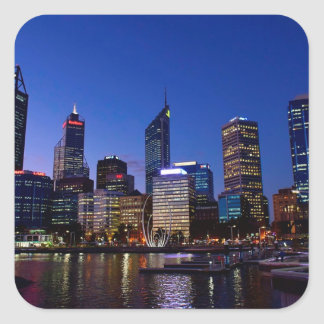 Perth Night Skyline Square Sticker