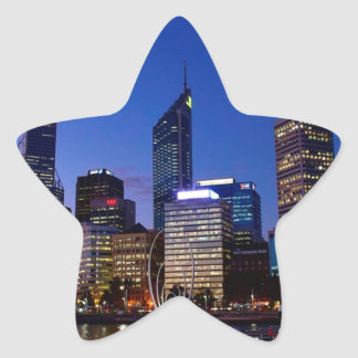 Perth Night Skyline Star Sticker