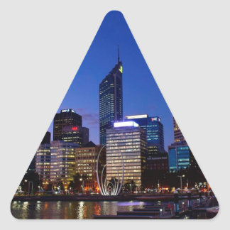 Perth Night Skyline Triangle Sticker
