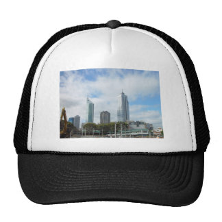 Perth Skyline From Northbridge Covered With Clouds Mesh Hats