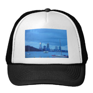 Perth Skyline From Swan River Foreshore Near Unive Trucker Hat