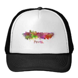 Perth skyline in watercolor hat