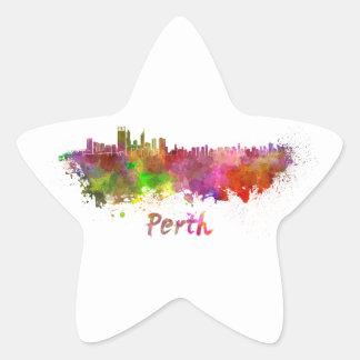 Perth skyline in watercolor pegatinas forma de estrella