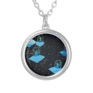 Perturbed Martians and some Cows Silver Plated Necklace