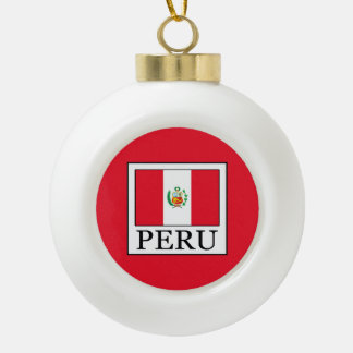 Peru Ceramic Ball Christmas Ornament