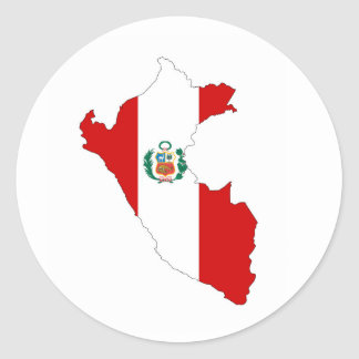 peru country flag shape map symbol classic round sticker
