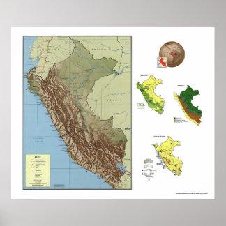 Peru Detailed Map 1970 Poster