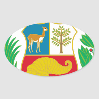 Peru - Escudo Nacional (National Emblem) Oval Sticker