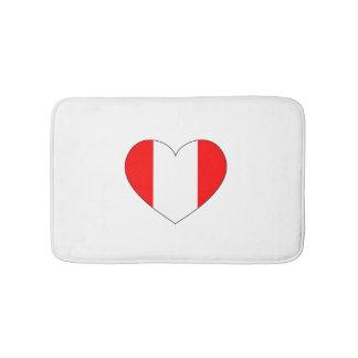 Peru Flag Heart Bath Mats