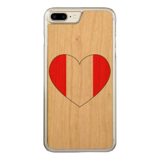 Peru Flag Heart Carved iPhone 8 Plus/7 Plus Case