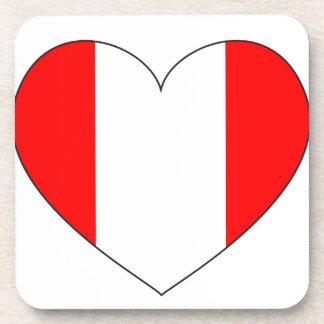 Peru Flag Heart Coaster