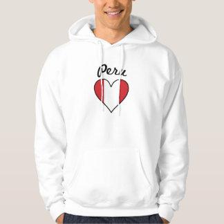 Peru Flag Heart Hoodie