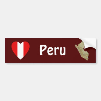 Peru Flag Heart + Map Bumper Sticker