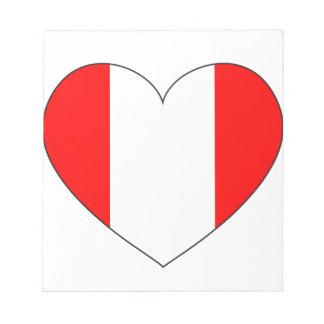 Peru Flag Heart Notepad