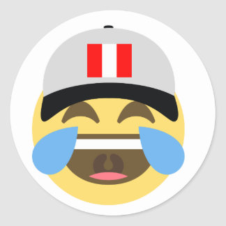 Peru Hat Laughing Emoji Classic Round Sticker